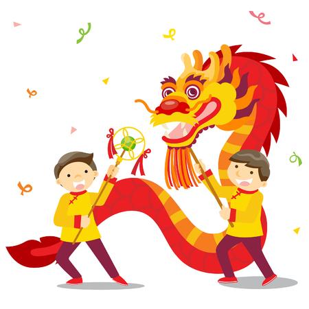 taniec: Chiński nowy rok święto  Dragon tańca Ilustracja
