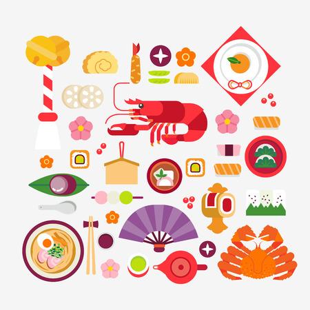 bento: Japanese new year foodsnew year celebration Illustration