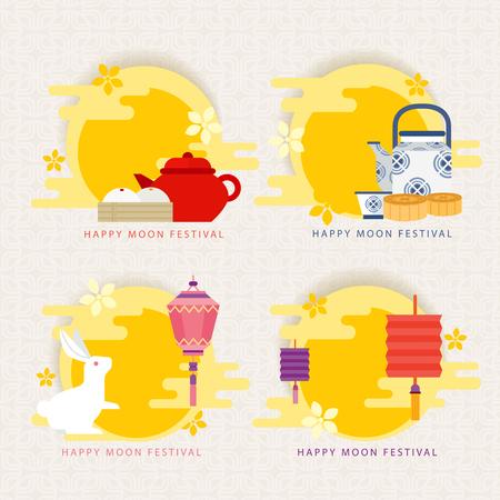 満月祭中国中秋祭  イラスト・ベクター素材