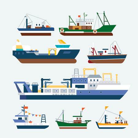 fishing boats: Fishing boats and Ships Illustration