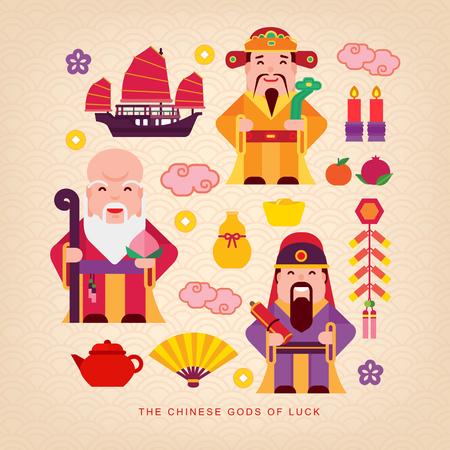 Dioses de la suerte chino Foto de archivo - 66944939