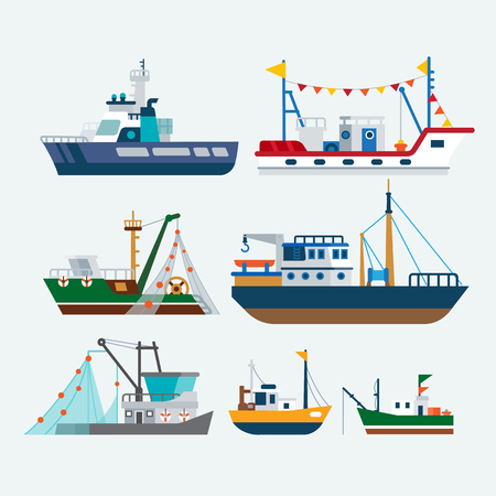 fishing vessel: Fishing boats and Ships Illustration
