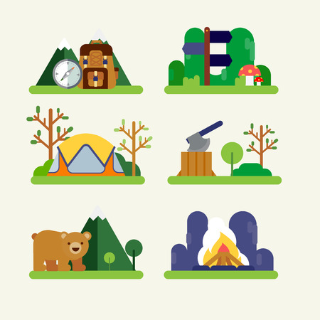 Hiking and camping Ilustrace