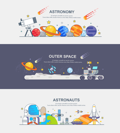 banner of astronauts Ilustrace