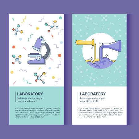 banner van laboratorium en experiment Stock Illustratie