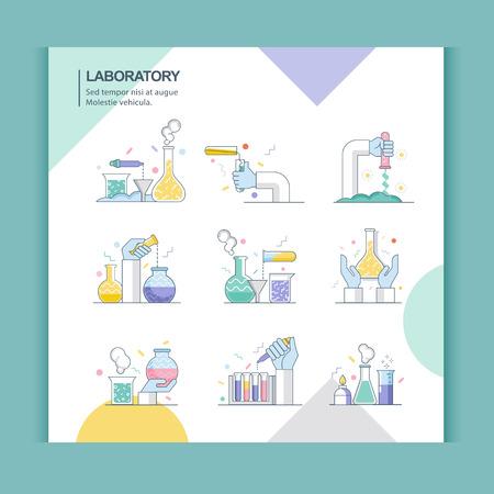 Pictogrammen van wetenschap en laboratorium