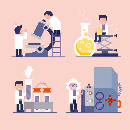 wetenschappers onderzoek in laboratorium  karakter cartoon van wetenschappers