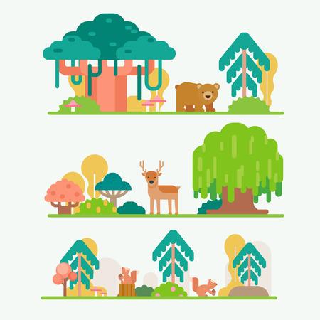 dieren in het bos Stock Illustratie