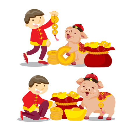 Chinese new year/year of the pig Иллюстрация