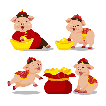 Chinese zodiac Pig year Иллюстрация