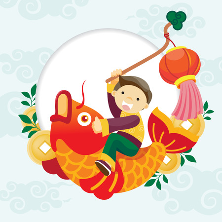 Chinese new year celebrations/boy riding fish