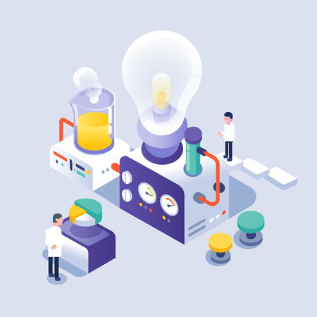 scientist working in laboratory, isometric icons