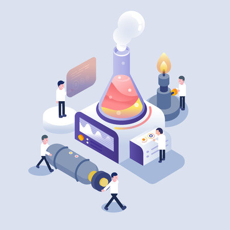 scientist working in laboratory isometric icons