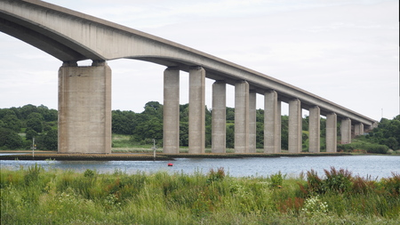 Road bridge over the River Orwell, Suffolk, UK