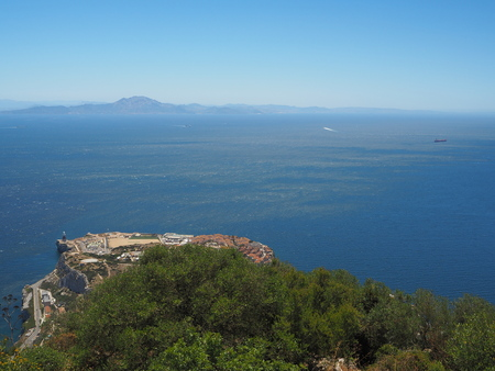 View from the top of the Rock of Gibraltar across the Strait of Gibraltar with Morocco in the distance Stock Photo