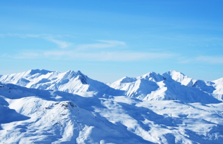Summits of the Alps in winter snow