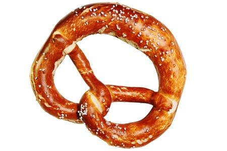 Bavarian pretzel isolated on white background