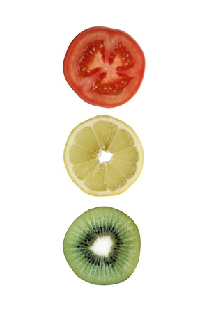 Sliced tomato lemon kiwi Stock Photo - 15404605