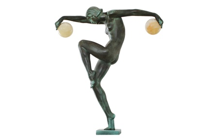 boules: Art Deco Dancing Figurine with two Balls Editorial