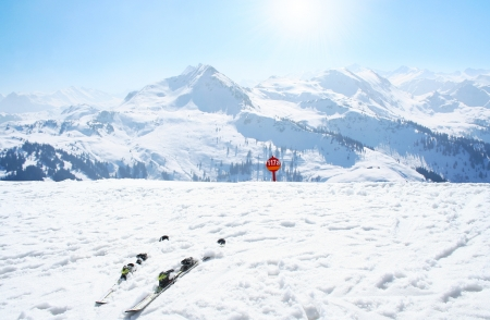 Winter sport ski holiday in the Alps photo