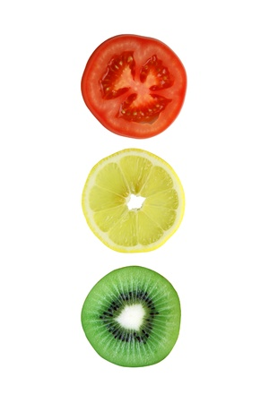 A traffic sign from sliced tomato lemon kiwi