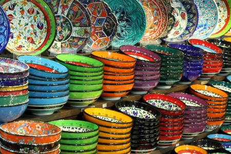 The porcelain of Turkish bowls Stock Photo