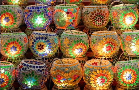 Assortment of traditional Turkish lamps photo