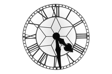 past midnight: Vintage clock face on white background
