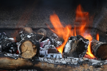 Fire on charcoal for BBQ grilling