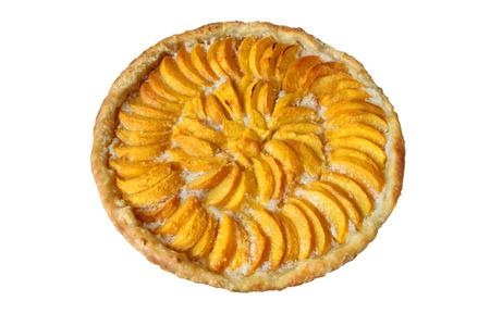Freshly baked peach pie almond