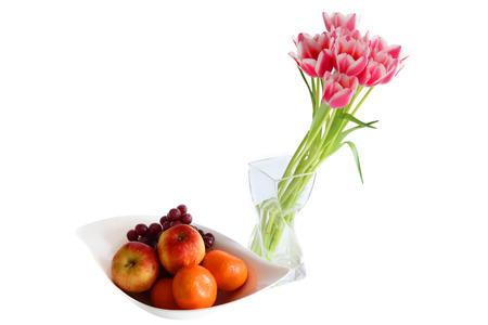 Beautiful tulips and fruits  Stock Photo