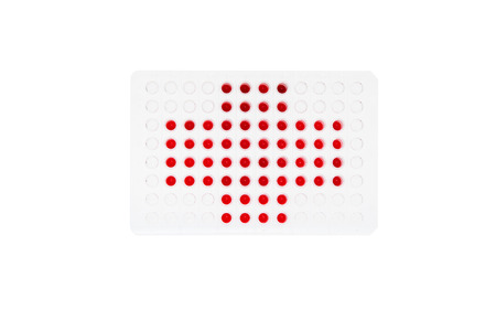 96 well plate with red fluids represent Red Cross Stock Photo