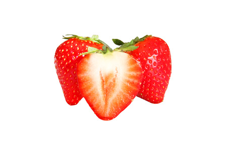 Fresh Strawberries isolated on a white background Stock Photo