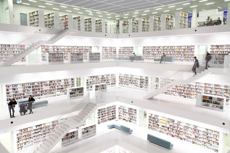 Interior view of a modern public library