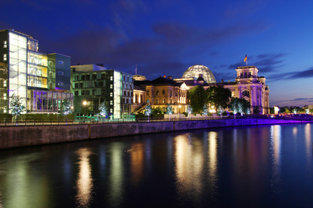 Berlin skyline during sunset with the Reichstag building seat of the parliament,, Germany Stock Photo