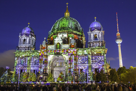 Berlin Cathedral (Berliner Dom) illuminated during sunset