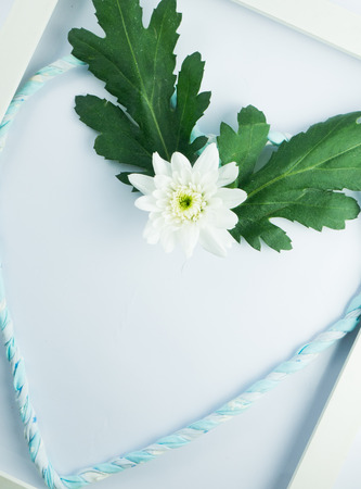 withe: white flower with heart lind in withe frame