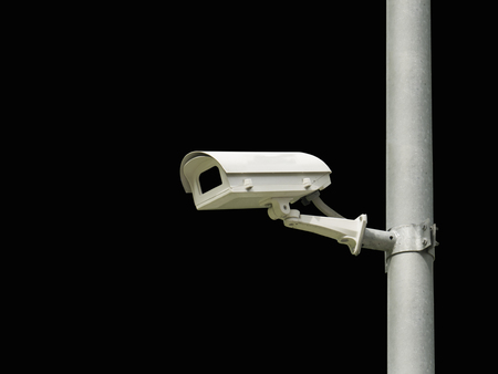 closed circuit television: closed circuit camera cctv on black background isolate with clipping path Stock Photo