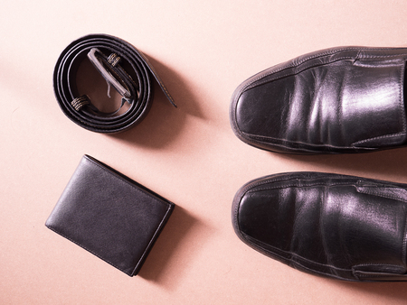 leather shoe: business set of accessory smartphone wallet leather shoe in concept new employess