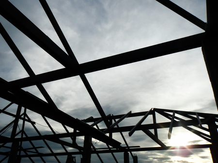 Silhouette Background With Blue Sky, Structure Of Steel Roof.. Stock ...