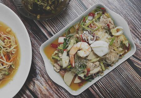 Spicy mung bean seafood salad thailand food call Yum-Wun-Sen