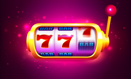 Spin and Win Slot Machine with Icons. Online Casino Banner. One Arm Bandit Vector Illustration.