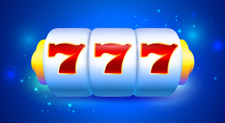 Spin and Win Slot Machine with Sevens. Bright Blue Background for Casino Banner  イラスト・ベクター素材