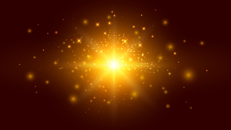 Golden Background with Particles and Light Effects. Shiny Backdrop for Your Advertisement Project