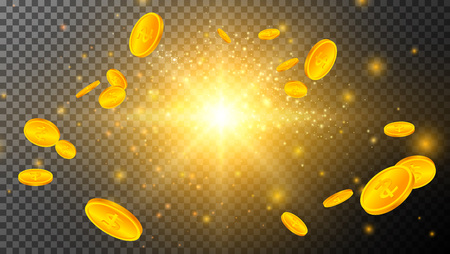 Golden Coins with Light Effects on Transparent Greed 写真素材 - 125882501
