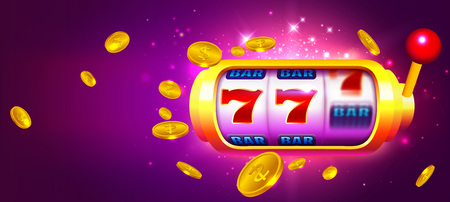 Trendy Casino Vector Illustration with Slot Machine and Coins. Fun Purple Background for your Gambling Business and Advertising