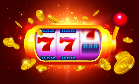 Royal Gold Slot Machine with Icons and Coins Rain on Red Background