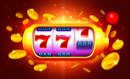 Golden Slot Machine with Moving Icons Vector Illustration. Bright Red Background with Coins for Casino Banner. 写真素材 - 125882506