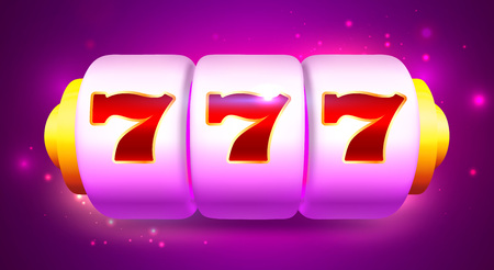 Spin and Win Slot Machine with Sevens. Online Casino Banner. Vector Cartoon Illustration