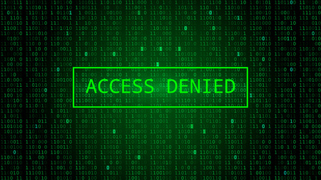 Binary Code on Dark Green Backdrop. Access Denied Vettoriali